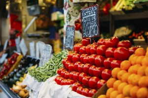 Tomatoes, oranges, and other agricultural products of local farmers in the grocery market