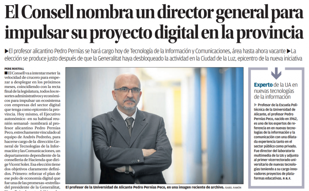 Pedro Pernías, director general de Tecnología y Comunicaciones de la Comunitat Valenciana