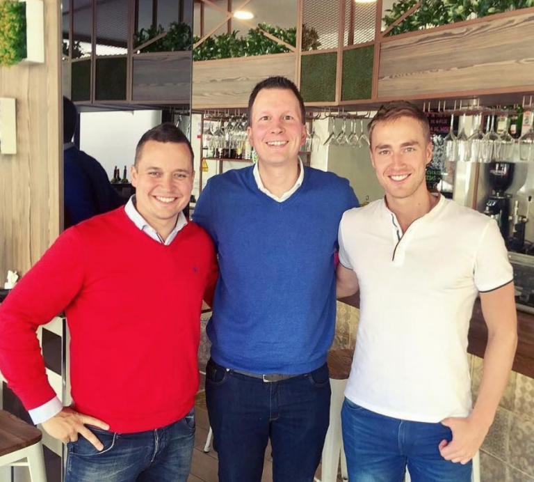Joni Pesonen and Evgeni Suokas, Tikis founders, with Lasse Rouhiainen