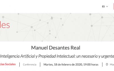 Conferencia de Manuel Desantes en la Fundación Areces sobre Derecho, IA y Propiedad Intelectual: un necesario y urgente dialogo