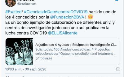 El proyecto de Ciencias de Datos contra la COVID-19 liderado por Nuria Oliver seleccionado por la Fundacion BBVA