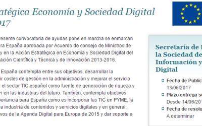 Convocatoria de ayudas Acción Estratégica Economía y Sociedad Digital (AEESD) 2017